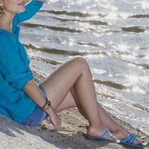 Chaco Flip Flops Teal Blue Women's Size 8